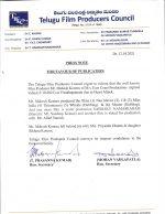 Telugu Film Producers Council Press Note